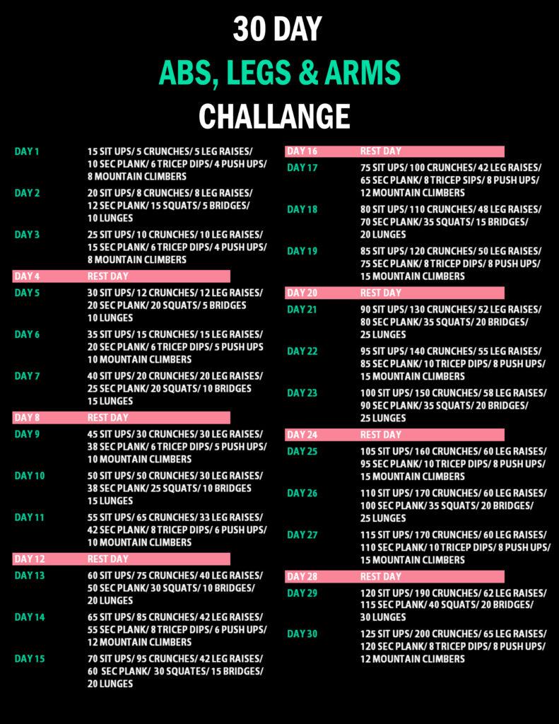 30 days challenge per tonificare in 30 giorni
