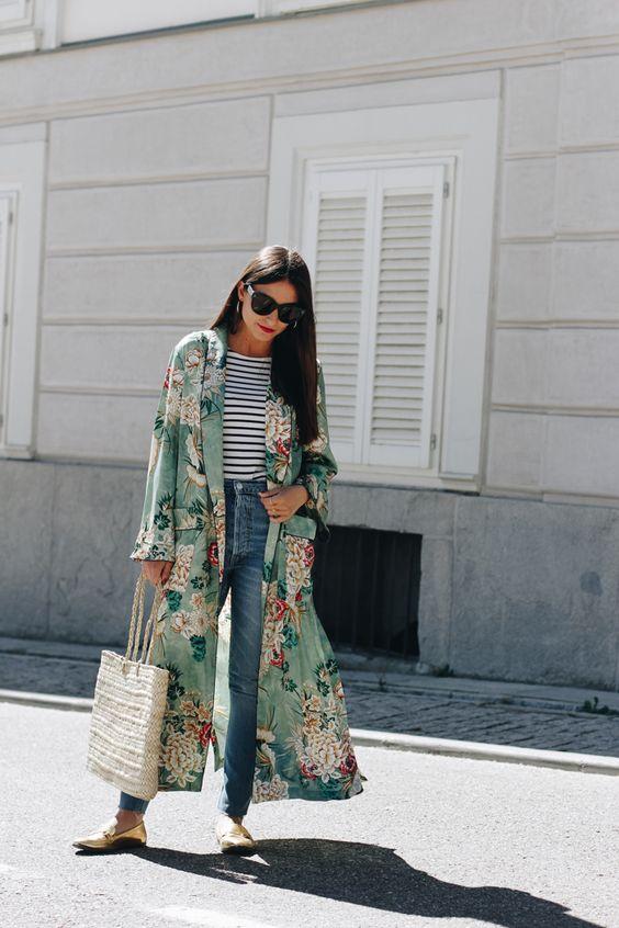 Kimono verde acqua zara