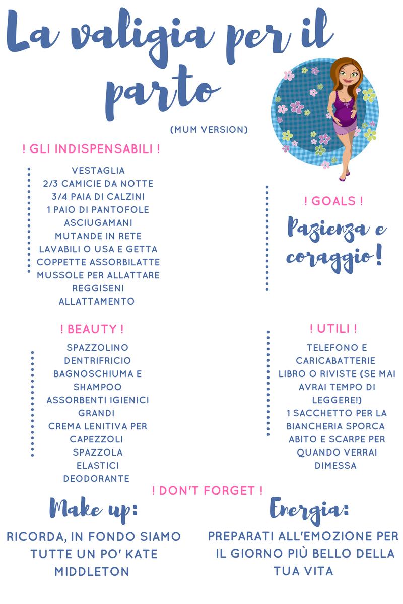 lista cosa mettere nella valigia per il parto