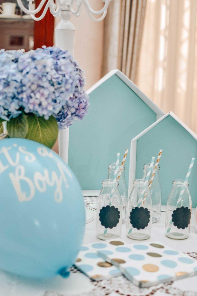 baby shower decorazioni oro azzurro