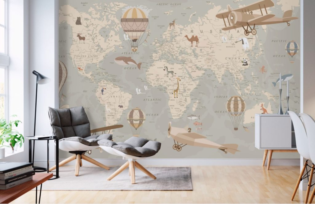 Carta da parati per stanzetta bambino vintage aeroplani mongolfiere