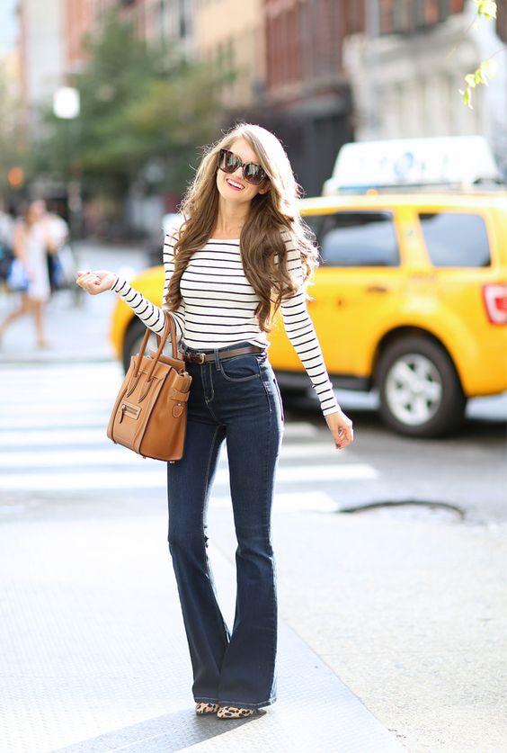 jeans flare e maglia stile brigitte bardot