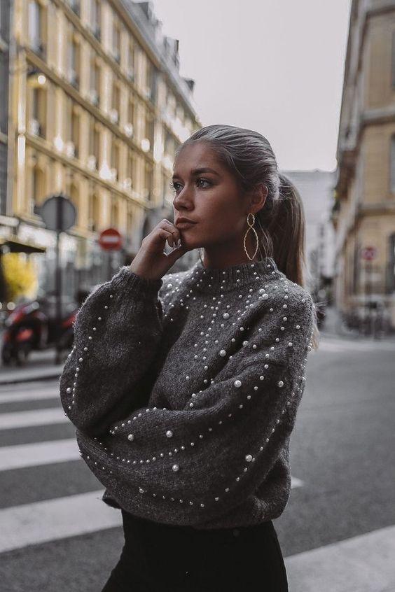 maglione oversize con perle