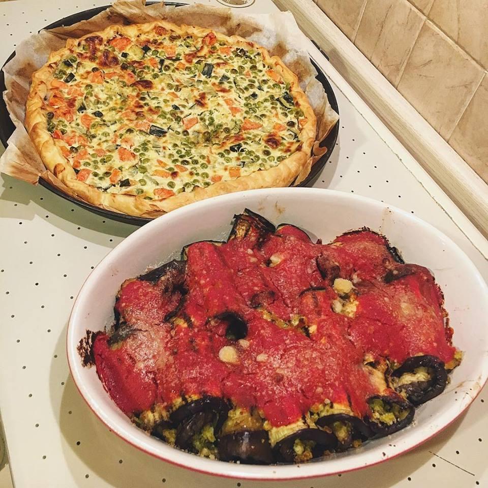 torta rustica con verdure dolci e involtini di melanzana
